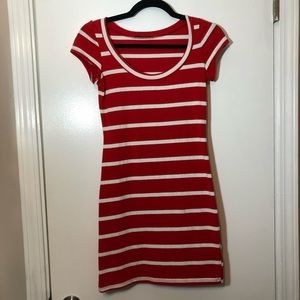 Soprano | Red & White Striped Fitted Dress, Small